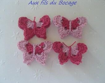 Butterfly 3D pink cotton crochet appliques