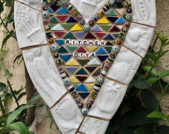 KITCHEN DIVA... Mosaic Heart, Vintage China, Czech Alphabet beads. Mosaic Art