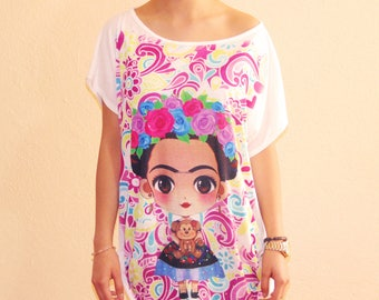 Frida Kahlo Mexican Shirt, Frida Kahlo Tee, Frida Tshirt, Frida Kahlo Gift, Frida Flower, Frida Kahlo Clothing, Frida Kahlo Cartoon
