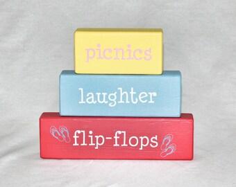 Picnics Laughter Flip Flops Stacked Wood Blocks, Summer Fun, Vinyl Sayings,  Wood