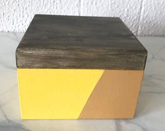 Hand Painted Hinged Box with Faux Wood Top, Geometric Bright Yellow and Camel Bottom