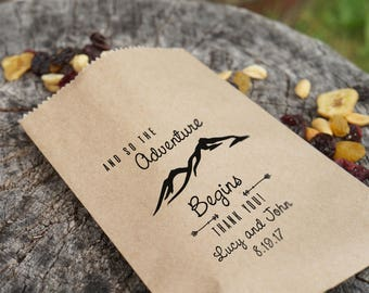 Trail Mix Favor Bags, Rustic Wedding Sacks, Barn Wedding, Thank You Bags, Kraft Paper - Personalized - Lined, Grease Resistant