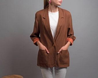 Brown Woven Blazer / Vintage 80s Blazer / Oversized Blazer / Single Breast Blazer Δ size: XS/S/M