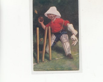 """A/S EP Kinsella """"How's That?"""" Boy Playing Cricket"""