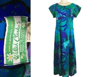 Waltah Clarke's Dress Aloha Hawaiian MuuMuu Vintage 1960s Acrylic Barkcloth Size M