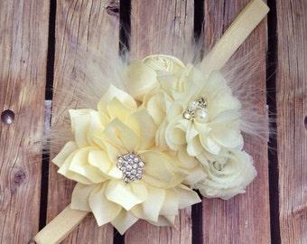 Cream headband, ivory headband, vintage headband, feather headband, bouquet headband, flower girl headband, feather headband, vintage