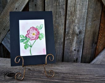 """Watercolor Rose, Abstract art, Original artwork, Watercolor, Pink rose, Flower, Pen and ink, Girl's room, Baby shower gift, 5""""x7"""""""