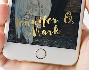 Gold Cursive Wedding Snapchat Filter | Names and Date 1005