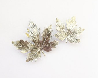 Silver Maple Leaf Barrettes Bridal Hair Clips Bridesmaid Botanical Nature Inspired Rustic Woodland Wedding Accessories Womens Gift For Her