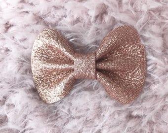 Rose Gold Glam Leather Ella Bow