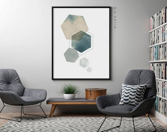 HEXAGON ART PRINT, Hexagon Wall Art, Teal Green Blue Geometric Wall Art, Modern Living Room Wall Art, Minimalist Poster, Scandinavian Print