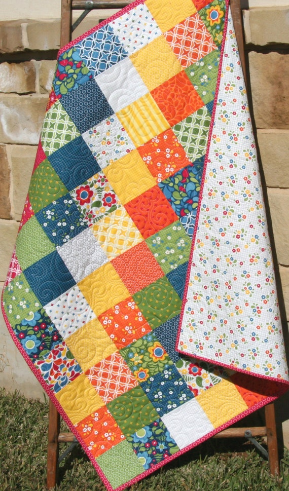 Last two quilt kit best day ever moda fabrics red blue last two quilt kit best day ever moda fabrics red blue yellow green rainbow bright ombre baby size crib blanket diy do it yourself solutioingenieria Images