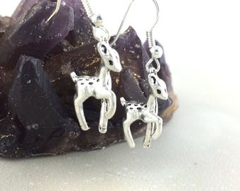 Sterling Silver Deer Earrings - Gift For Women Christmas Jewelry - Adult Stocking Stuffer - Fawn Animal Jewelry -Woodland Forest Clip On J21