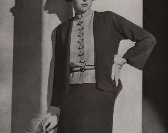 PDF of Minerva's Berkley Three Piece Velveen Suit Knitting Pattern No. 3620, c. 1934