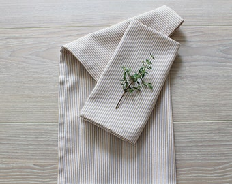 Wheat Stripe Cotton Napkins - Set of 4