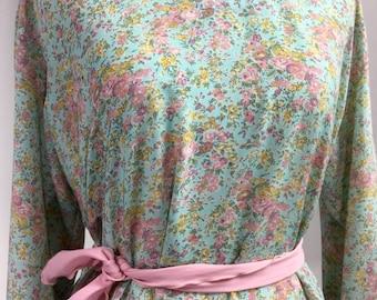 Green Floral Dress - Mint Green, Aqua Blue, Pink, Yellow Flower Print - Vintage Long Sleeve Shift Dress, High Side Slits, Pastel Sash Belt