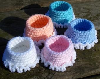 Girls organizer set of 2 crochet basket girls birthday gift