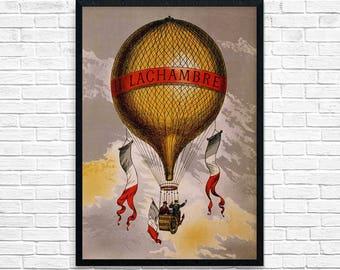 Hot Air Balloon Vintage Poster, Hot Air Balloon Travel Poster, Travel Poster Print, Wall Art, Art Deco Home Decor