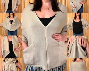 Beige with POCKETS!! Magic Convertible Scarf: poncho/kimono/shawl vest/nursing cover/blanket scarf/festival clothing- AWESOME and upcycled!