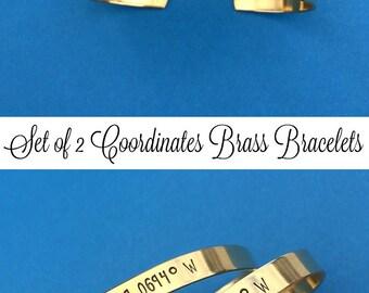 SET OF 2 - BRASS Bracelets, Gold Bracelets, Custom Hand Stamped, Personalized Gift, Custom Coordinates, Sister Gift, Bachelorette Party Gift