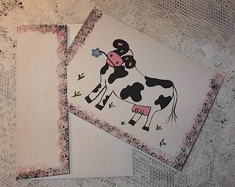 Cow hand painted card, greeting card, blank card, farm card, cow card, get well card, encouragement card