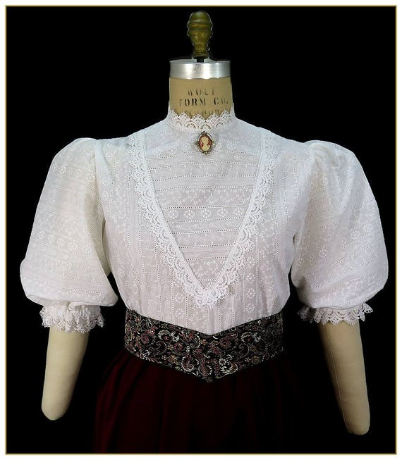Edwardian Blouses | White & Black Lace Blouses & Sweaters Embroidered Stripe Victorian Blouse $92.00 AT vintagedancer.com