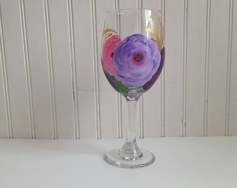 Hand painted wine glass with flowers spring glass summer wine glass floral print wine glass wedding glass custom glass custom painted glass