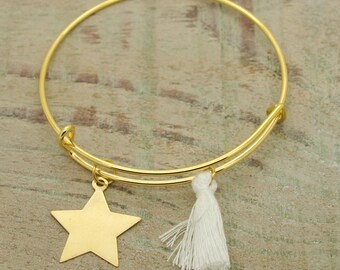 "bracelet Kit ""Star"" Golden tassel white"