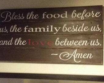 Bless The Food Before Us Pallet Sign / Pallet Art / Housewarming  Gift / Home Decor / 21 x 42 inches.