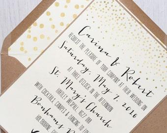 Rustic antler wedding invitation - rustic wedding invitation - rustic wedding invitation bundle - gold confetti wedding invitation