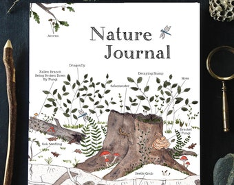 """Nature Journal for Kids - 8 x 10 - 102 Pages - """"Beneath the Old Oak"""" Cover Art - Charlotte Mason, Montessori, Nature Study"""