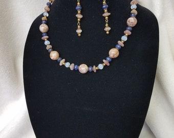 Gemstone necklace/earrings set