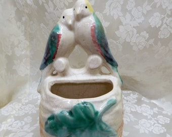 """Vintage Wall Pocket Planter Colorful Love Birds """"A"""" unmarked"""