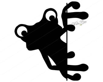 Peeking Frog SVG Clipart, Tailless Amphibians, Peeking Frog, Toad, Frog Image, Croak, Ribbit, Frog SVG, Frog Silhouette, Instant Download