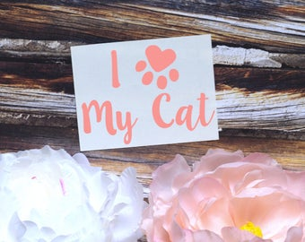 I Heart My Cat Vinyl Decal, Cat Decal, Cat Sticker
