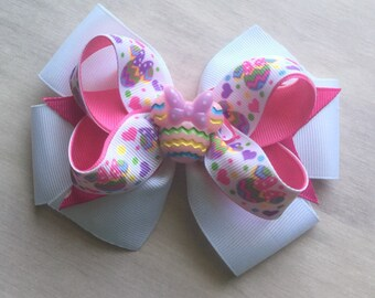 Festive Minnie  girls  layered boutique hair bow