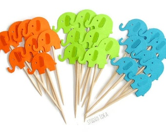 Mixed Orange, Lime & Turquoise  Elephant Cupcake Toppers, Food Picks-Set of 12pcs, 24 pcs