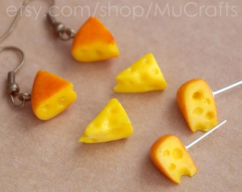 Tiny CHEESE EARRINGS, Dangle or Post, Cheese Studs, Food Miniature Jewelry, Mother's Day