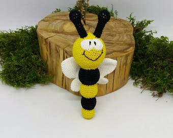 Bumble bee rattle,Crochet teething toy,cotton teething toy,Cotton rattle,crochet rattle,crochet bee toy,crochet teether,cotton teether