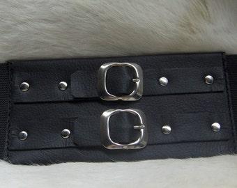 Black Leather Waist Cincher Handmade For You