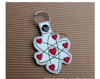 Atomic Love Key Fob Snap Tab Machine Applique Embroidery design 4x4 5x7 ITH In The Hoop Valentine's Day