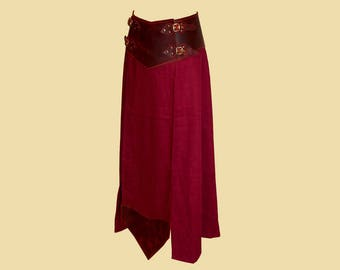 Battle Skirt made of Linen and Oiled Leather Larp, Fantasy, LRP