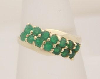 Ladies Round Cut Emerald Ring 10K Yellow Gold