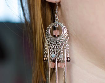 Silver Bohemian earrings, dangle