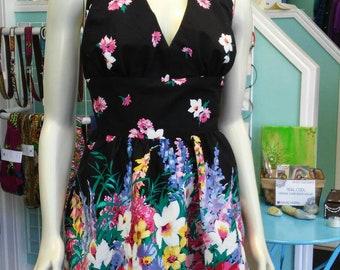 Flirty Floral Halter Sundress in Vintage Paneled Cotton