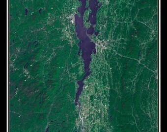 Lake Champlain New York - Vermont - Quebec Satellite Poster Map