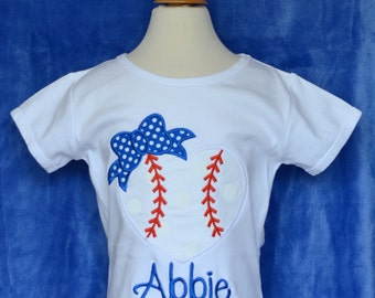 Personalized Heart Baseball with Bow Applique Shirt or Bodysuit Girl