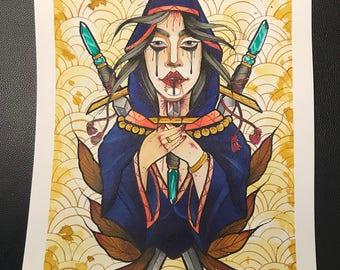 Sword Lady Tattoo Flash Print