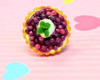 Blueberry Cream Pie Ring - Miniature Food Jewelry - Inedible Jewelry, Pie Jewelry - Blueberry Pie Jewelry, Kid's Jewelry - Junk Food Jewelry