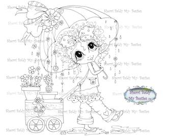 INSTANT DOWNLOAD Digital Digi Stamps Big Eye Big Head Dolls Digi  img018 April Showers VBesties By Sherri Baldy